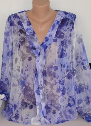 Брендовая фиолетовая шифоновая блуза mango марокко принт цветы...