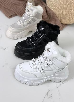 Белые зимние ботинки,массивные ботинки на платформе,ботинки в ...