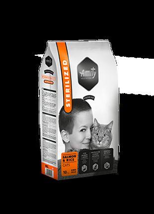 Корм для кошек AMITY стерилизованные с лососем и рисом 1.5 КГ