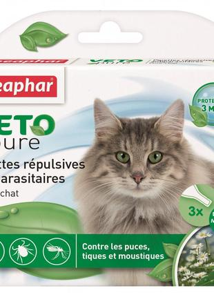Ибо капли от блох и клещей для кошек Beaphar VETO PURE, 3 пипетки