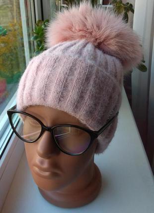 Новая ангоровая шапка на флисе с натуральным бубоном, розовая ...