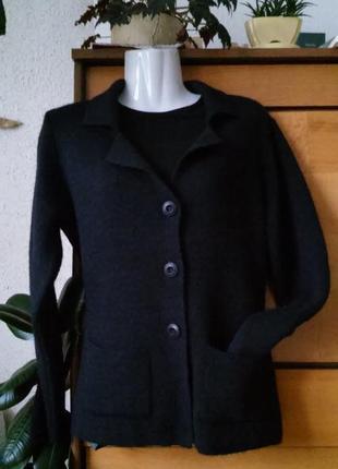 Стильный итальянский шерстяной кардиган/жакет/кофта с карманами