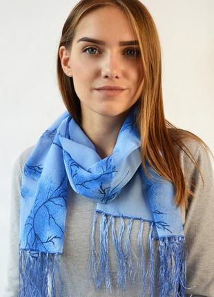 Шифоновый женский шарф голубой синий в наличии