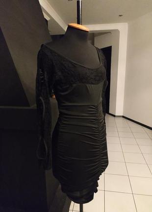 """Маленькое черное платье кружево мокрый трикотаж рукав с """"дырка..."""