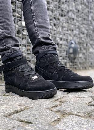 💎зимние мужские nike air black💎кроссовки/ботинки чёрные найк с...