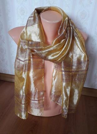Золотой шелковый шарф, платок, палантин, накидка