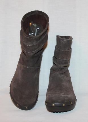 Полусапоги ботинки замша/кожа коричневый crocs,оригинал!