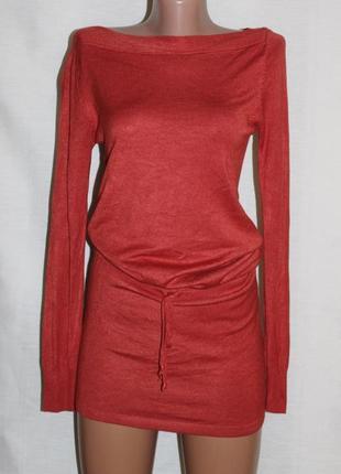 Роскошное платье трикотаж вискоза терракот voyelles 36-38 р