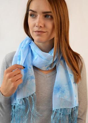 Шифоновый шарф голубой в наличии