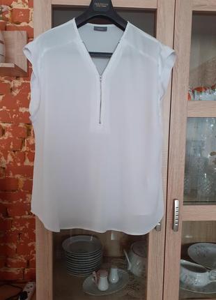Белоснежная  с замком блузка yessica большого размера