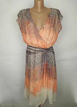 Платье шелковое легкое на запах в анималистический принт 100% ...