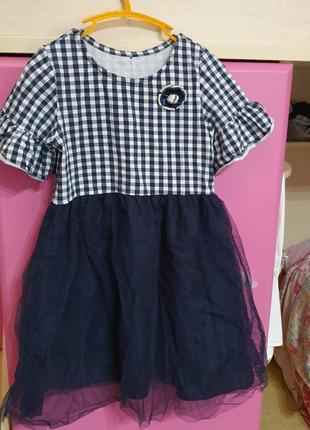 Нарядное красивое стильное школьное платье 6-8лет, 122-134