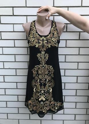 Платье в стиле dolce&gabbana сарафан с золотой вышивкой,пайетк...