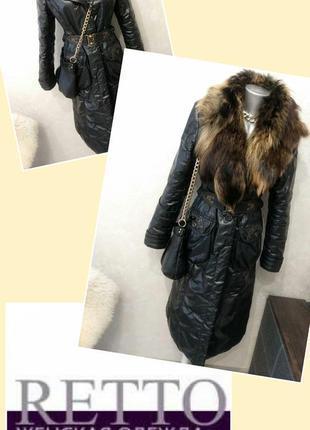 Пальто с меховым воротником. зимнее пальто на синтепоне.