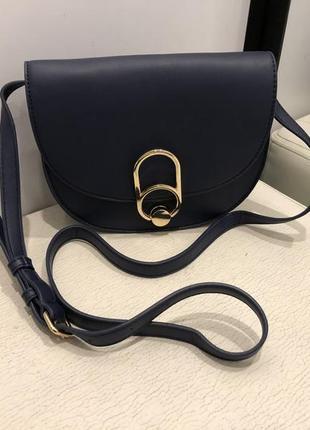 Синяя сумка кроссбоди сумочка на длинном ремешке mohito