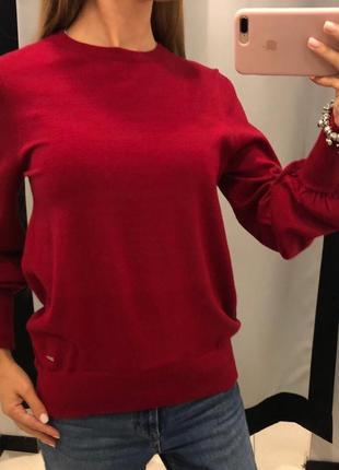 Красный свитер легкий вязаный джемпер mohito есть размеры