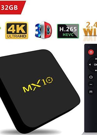 ТВ приставка TV Box MX10 4K Android 8.1 Smart TV 4/32 ГБ PREMIUM