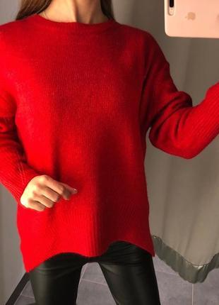 Красный вязаный свитер amisu есть размеры