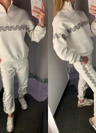 Белый спортивный костюм с начесом комплект прогулочный костюм ...