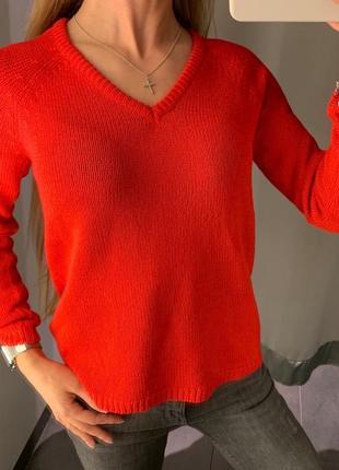 Красный вязаный джемпер свитер amisu есть размеры