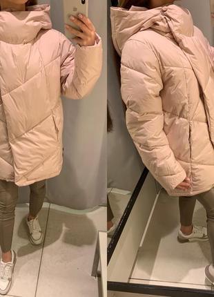 Объемное розовое пальто одеяло куртка reserved есть размеры