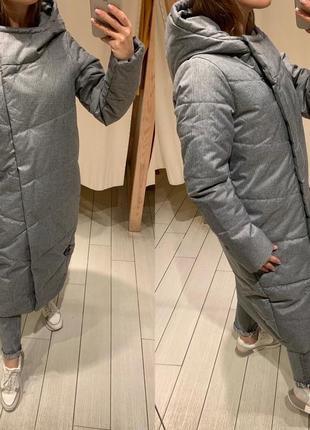 Длинное серое пальто тёплая куртка house есть размеры