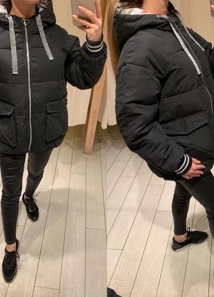 Объемная чёрная куртка пуффер курточка house есть размеры