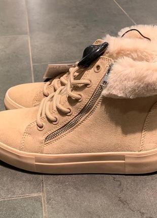 Тёплые бежевые зимние ботинки сапоги amisu есть размеры