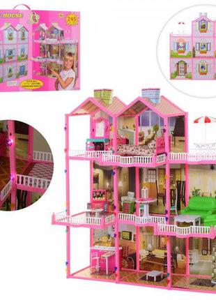 Домик для кукол 6992 Трех этажный, мебель, свет