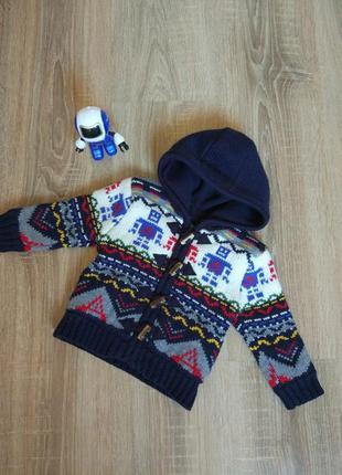 Очень теплая кофта куртка на флисе с капюшоном на мальчика