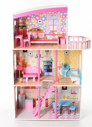 Деревянный трехэтажный домик для кукол с мебелью 2411