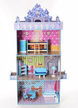 Деревянный трехэтажный домик для кукол с мебелью 2410