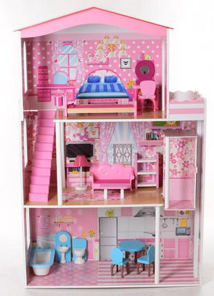 Деревянный трехэтажный домик для кукол с мебелью, лифтом 2413