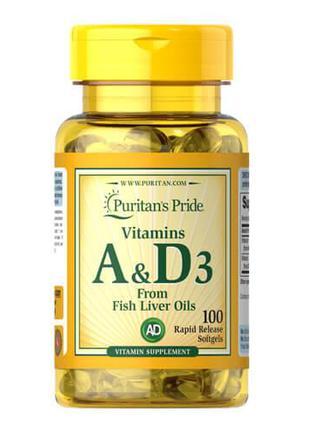 Витамин А и витамин D3, Puritan's Pride Vitamins A & D 5000/40...