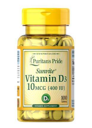 Витамин Д3, Puritan's Pride Vitamin D3 10 mcg (400 IU) 100 капсул