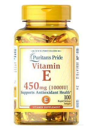 Витамин Е, Puritan's Pride Vitamin E 450 mg 100 жидких капсул