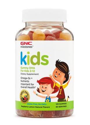 Омега-3, Для детей 2-12 лет, GNC Kid's DHA Gummy 120 жевательн...