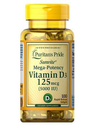 Витамин D3, Puritan's Pride Vitamin D3 5000 IU 100 капсул