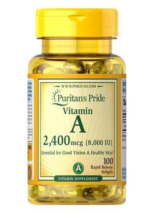 Витамин А, Puritan's Pride Vitamin A 8,000 IU (2,400 mcg) 100 ...
