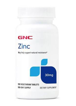 Цинк, GNC Zinc 30 mg 100 таб