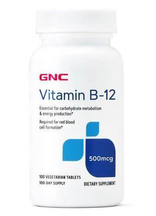 Витамин B12, GNC Vitamin B-12 500 mcg 100 таб