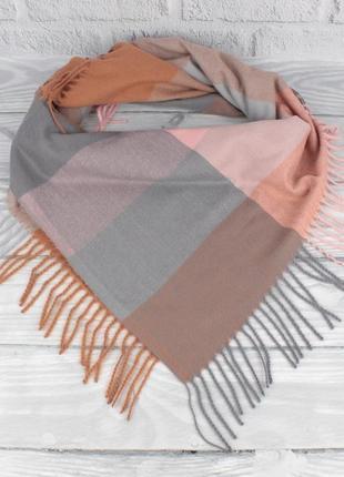 Мягкий кашемировый платок cashmere 7980-6 в клетку, расцветки
