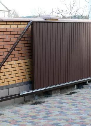Откатные ворота с автоматикой на заказ в Николаеве и области.