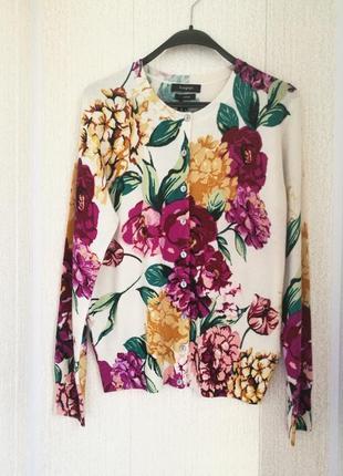 Мягкий кашемировый кардиган-блуза в цветочный принт autograph