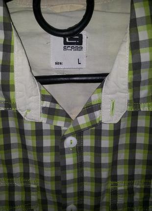 Мужская хлопковая рубашка в клетку с коротким рукавом