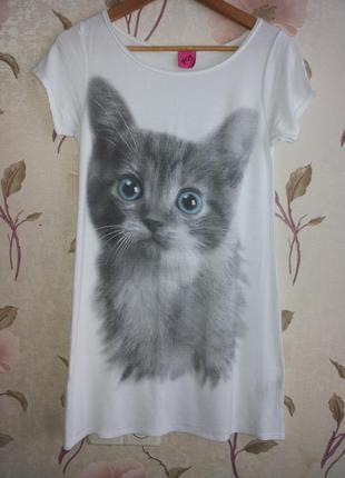 Белая длинная футболка/футболка-платье принт кошка