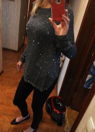 Шикарный серый сверкающий нарядный свитер с шифоновой спинкой ...