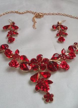 Набор бижутерии колье+серьги с красными австрийскими кристаллами