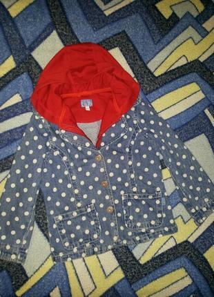 Куртка джинсовая в горошек с капюшоном девочке 98/104