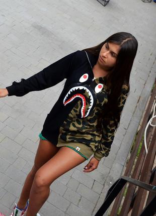 Худи Bape Shark FULL ZIP Green/Black ⏩ Наличие: (M)-2 (L)-2 (X...